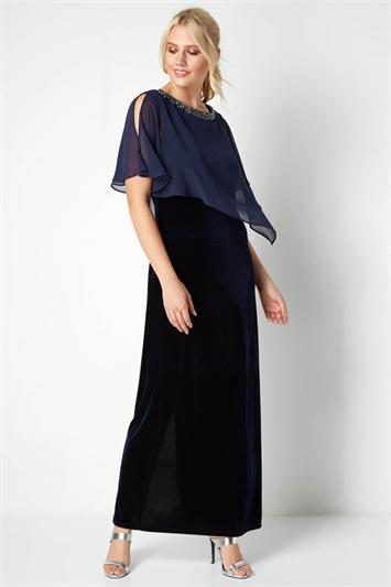 Velvet Overlay Maxi Dress