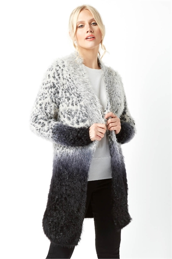 Fluffy Animal Print Longline Cardigan