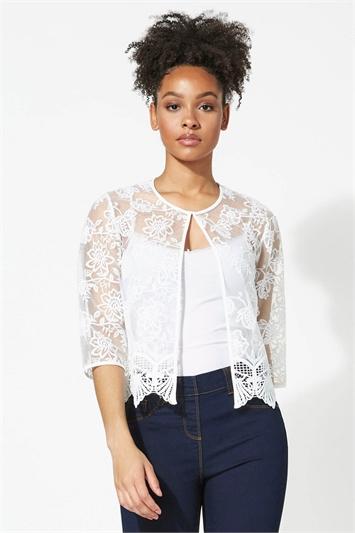Ivory Short Floral Embroidered Jacket
