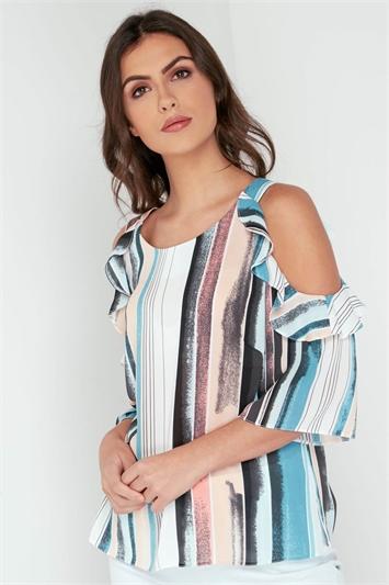 Stripe Frill Detail Cold Shoulder Top