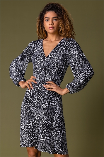 Black Mono Abstract Print Dress