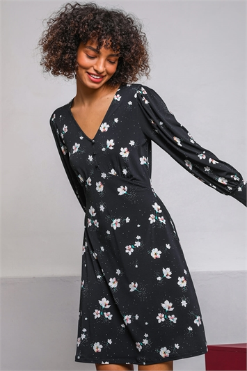 Black Floral Print Fit & Flare Tea Dress