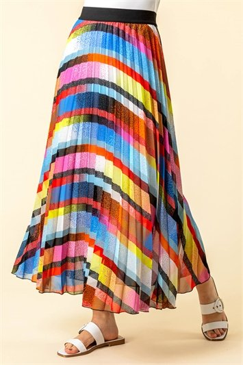 Rainbow Striped Pleated Maxi Skirt