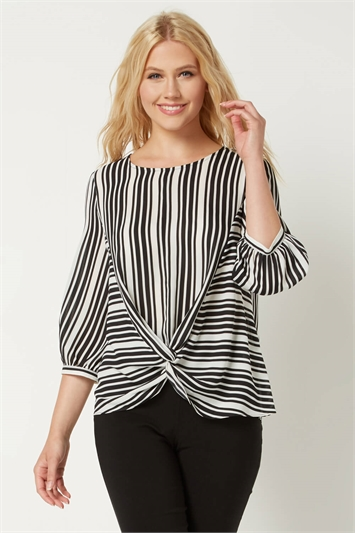 Stripe Print Knot Front Top