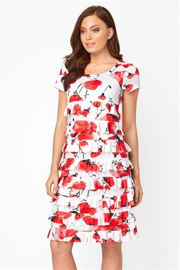 Floral Frill Tiered Dress