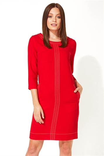 3/4 Sleeve Top Stitch Shift Dress