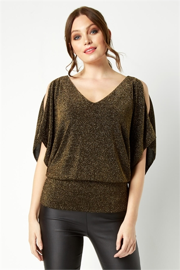Split Sleeve Shimmer Top