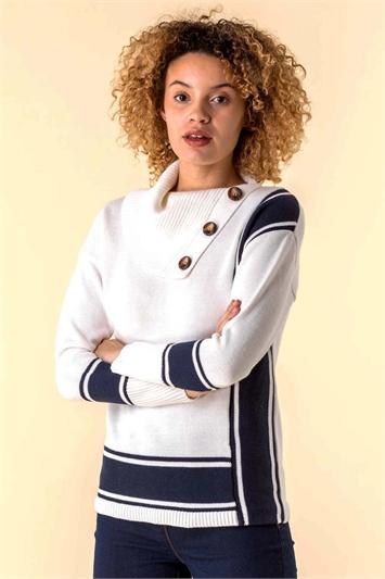 Ivory & Navy Textured Knit Button Detail Stripe Jumper