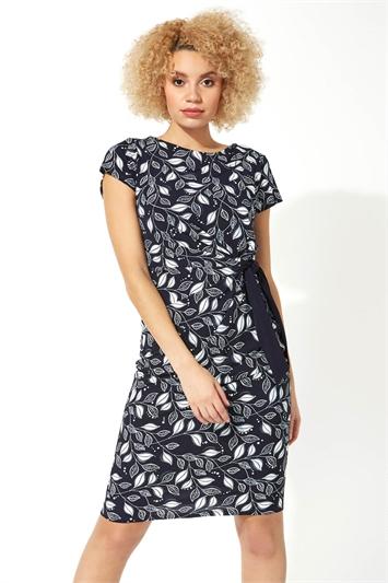 Leaf Print Side Tie Dress