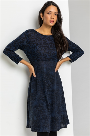 Navy Contrast Animal Fit & Flare Dress