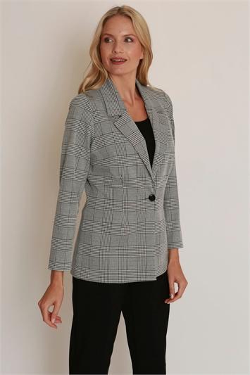 Julianna Check Print Long Sleeve Jacket