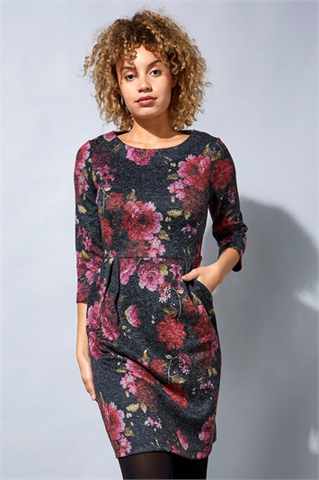 Wooly Touch Floral Print Shift Dress