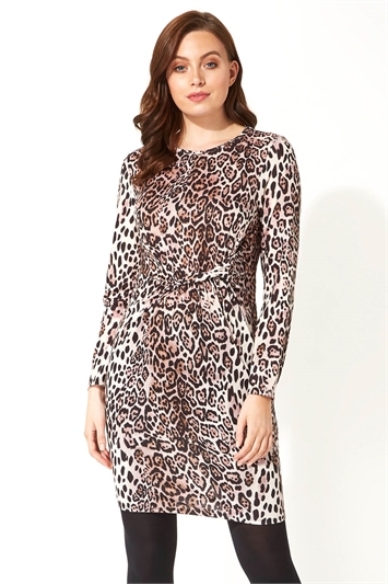 Animal Print Side Twist Dress