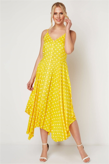Polka Dot Hanky Hem Midi Dress