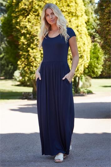 Navy Gathered Skirt Maxi Dress, Image 1 of 5