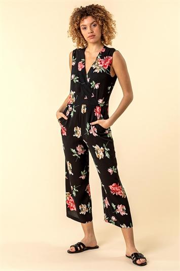 Wrap Front Floral Print Jumpsuit