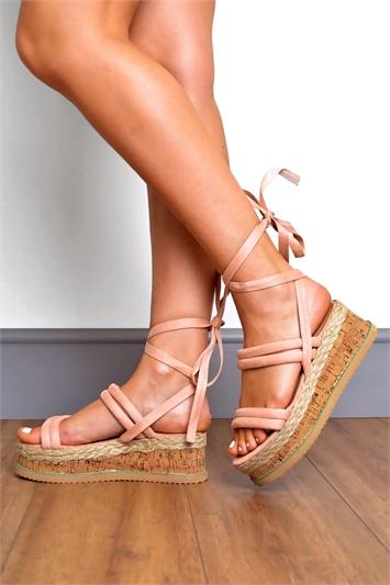 Pink Suede Padded Strap Tie Leg Flatform Sandals