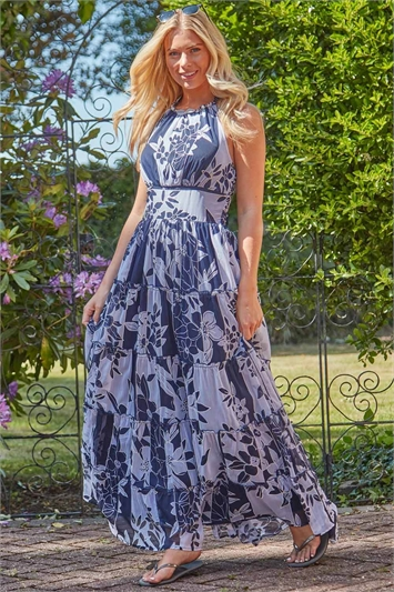 Patchwork Floral Print Halterneck Maxi Dress