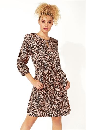 Animal Print 3/4 Sleeve Tunic Dress