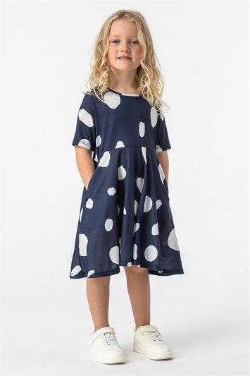 Navy Girls Spot Print Skater Dress