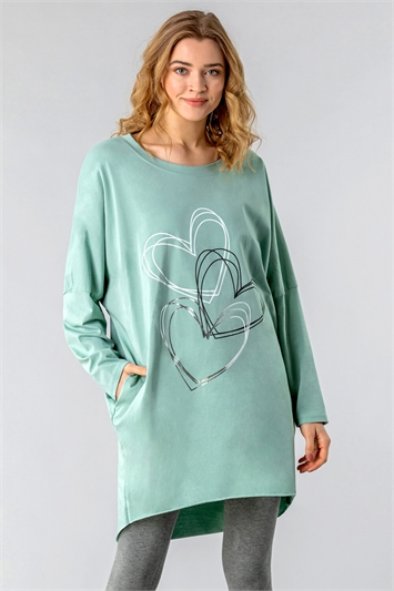 One Size Foil Heart Print Lounge Top