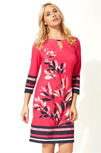 Floral Stripe Print Shift Dress