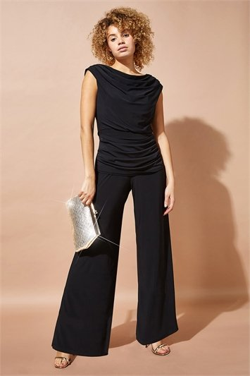 Cowl Neck Ruched Jumpsuit