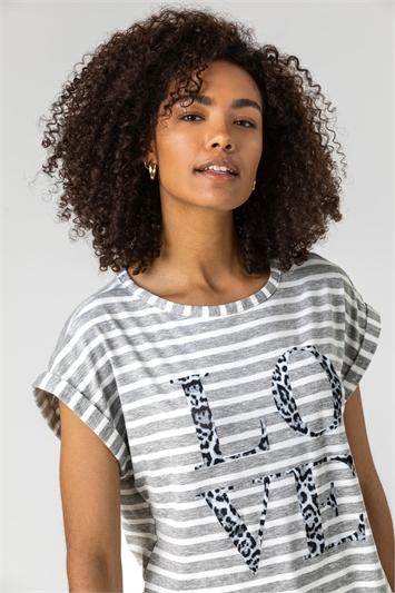 Grey Stripe Love Print Top
