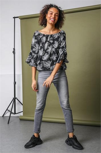 Black Floral Printed Bardot Tunic Top