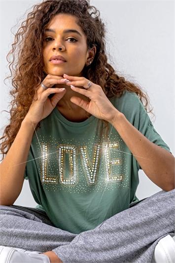 Sage Diamante Embellished Love Logo Top