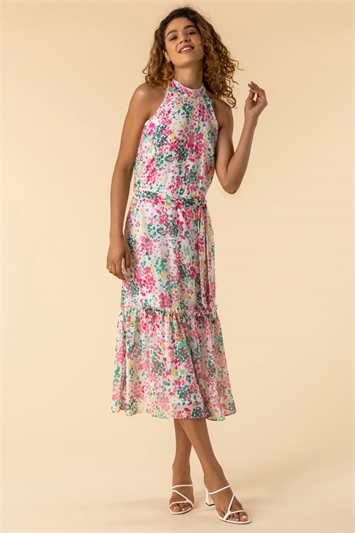 Pink Tie Waist Floral Midi Dress