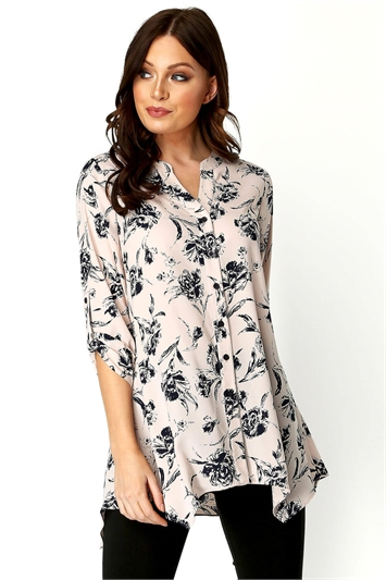Floral Print Roll 3/4 Sleeve Shirt