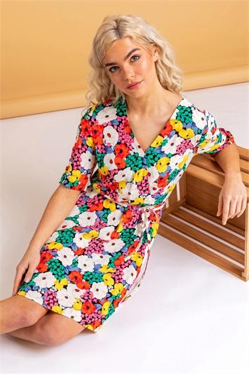 Multi Bold Floral Wrap Dress
