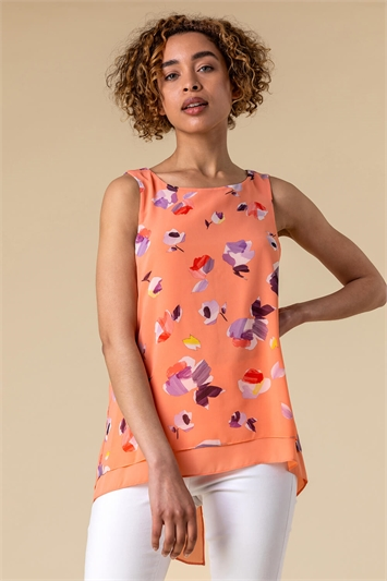 Abstract Floral Print Vest Top