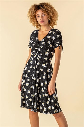 Floral Spot Ruched Tea Dress