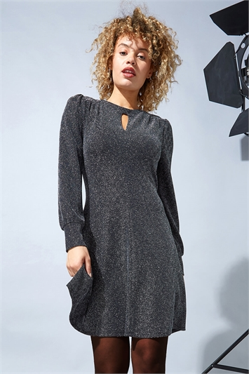 Keyhole Neck Sparkle Swing Dress