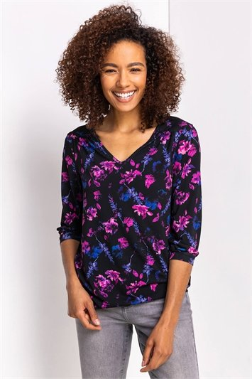 Purple Floral Print Blouson Top
