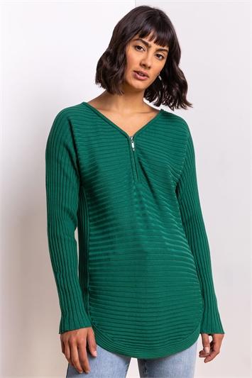 Green Zip Front Textured Top, Image 1 of 5