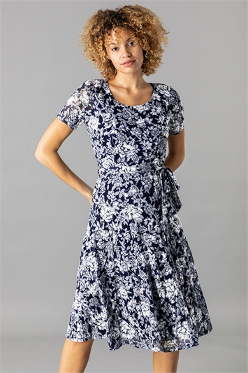 Floral Burnout Midi Dress