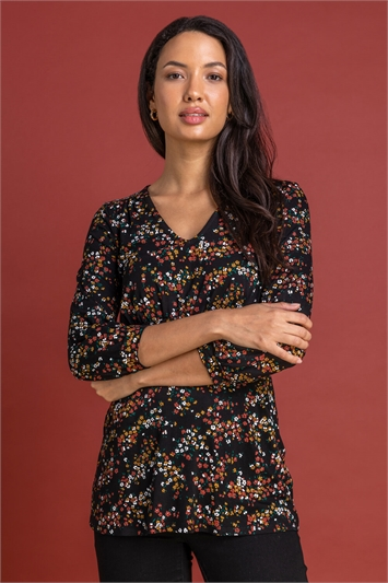 Rust Ditsy Floral Print Top, Image 1 of 5