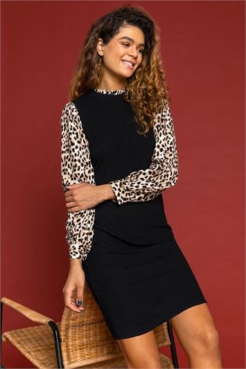 Black Contrast Animal Sleeve Jumper Dress