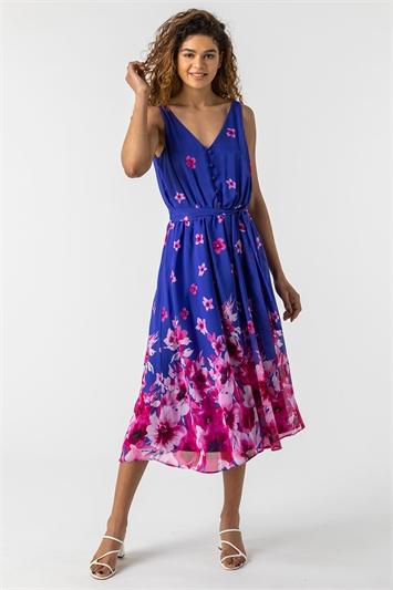 Blue Floral Print Belted Midi Dress