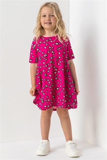 Pink Girls Heart Print Stretch Swing Dress