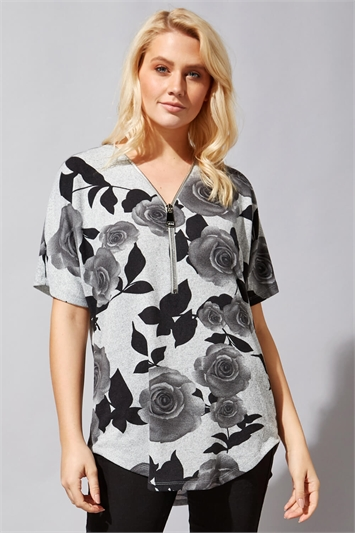 Rose Print Zip Front T-Shirt