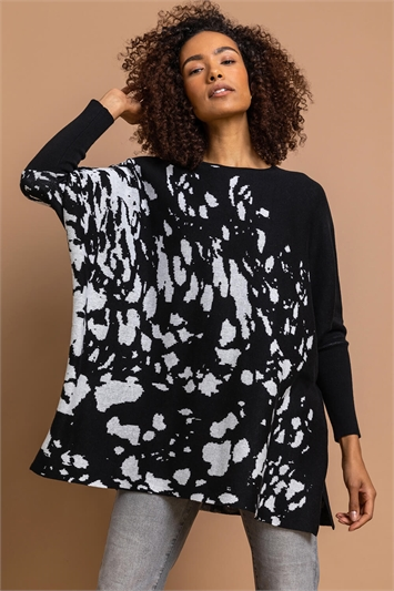 Black Relaxed Abstract Print Jumper, Image 1 of 4