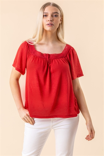 Lace Detail Square Neck Top