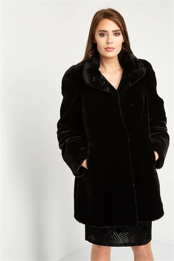 Faux Fur Swing Coat