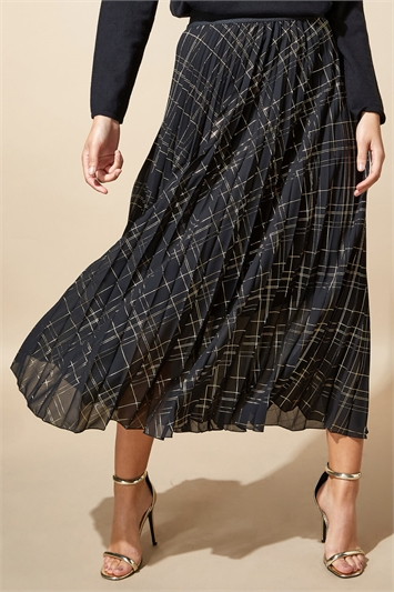 Metallic Check Print Pleated Maxi Skirt