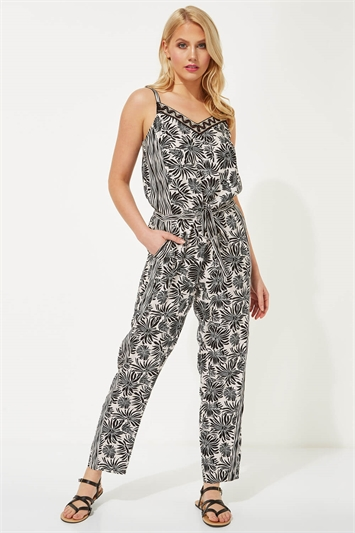 Abstract Floral Print Jumpsuit