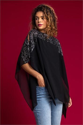 Silver Sequin Embellished Chiffon Overlay Top